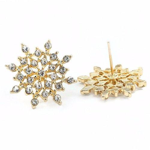 f83372a02 Gold-Tone Rhinestone Snowflake Stud Earrings 2.0 x 2.0cm Christmas  Rhinestone Snowflake Snow Xmas on OnBuy