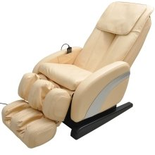 Homcom Luxury Reclining Leather Massage Heat Armchair Multifunctional Full Body Cream