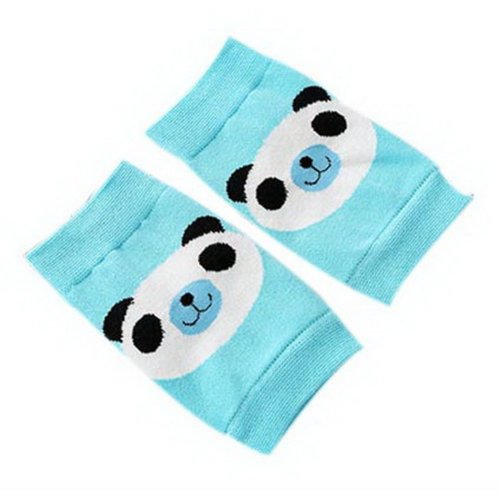 Cute Panda Print Children's Crawling Kneepads Breathable Cotton Elbow Pads, Blue