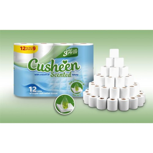 Vinsani 60 Cusheen Quilted Aloe Vera Fragrance Scented 3 Ply Toilet Tissue Paper Rolls