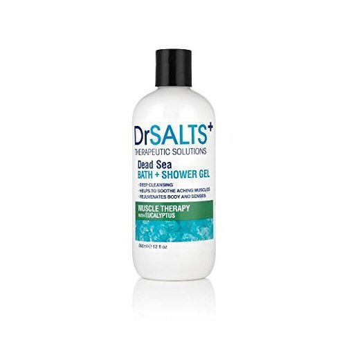 Dr Salts+ Muscle Therapy Bath and Shower Gel, 350 ml 100% Natural Dead Sea Salts with invigorating Eucalyptus and Organic Seaweed Blend, Providing...