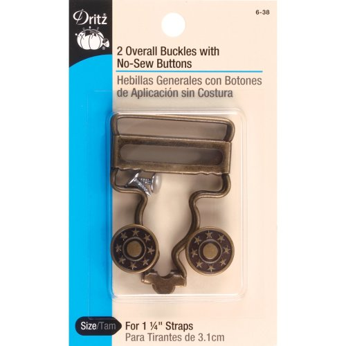 "Dritz Overall Buckles W/No-Sew Buttons For 1-1/4"" Straps-Antique Brass 4/Pkg"