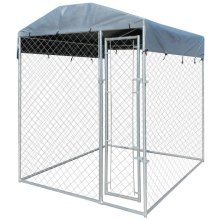 Heavy-duty Outdoor Dog Kennel with Canopy Top 200 x 200 x 235 cm