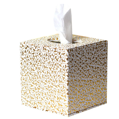 Square Cute Tissue Box Holder With Gold Carved Patterns (White)
