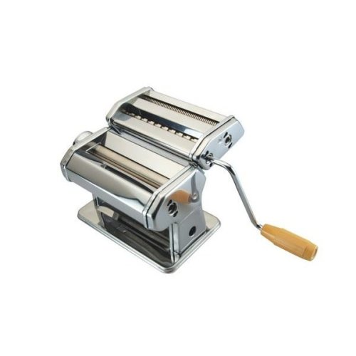 Pasta Machine With Double Cutter Attachement Clips Roller Lasagne Handle Hole Removable Turning Handle And Clamp For Easy Storage