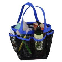 Outdoor Camping Quick Dry Mesh Shower Accessories Tote With Handle-Deep Blue