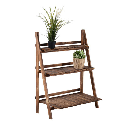 Outsunny Wooden 3-Tier Planter Display - L80 x W37 x H93