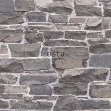 HD non-woven wallpaper brick wall blue and gray