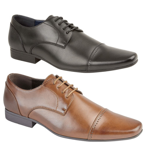 Mens Cracoe Formal Smart Dress Shoes Punch Detail