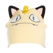 Pokemon Unisex Meowth Face and Ears Cuffless Beanie One Size - Cream