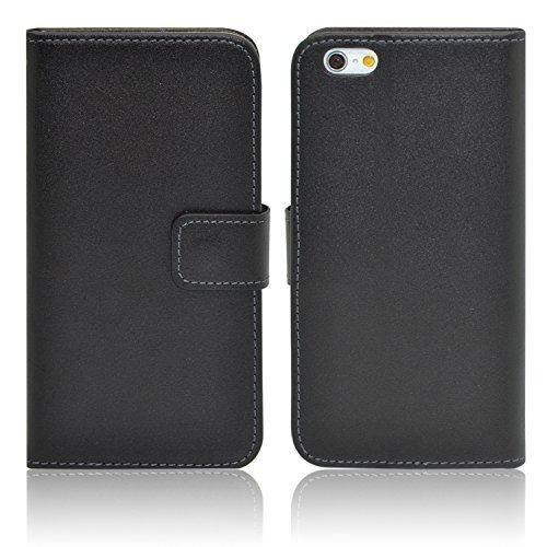 InventCase Apple iPhone 6 Plus / 6s Plus (5.5 inch) 2014 / 2015 Genuine Leather Flip Case Wallet Case with Screen Protector - Black with Tan Interior
