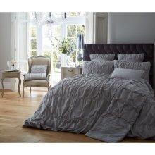 Alexander grey ruched cotton blend duvet cover
