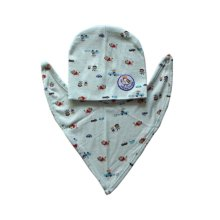 Green with Cartoon Printing Baby Bib and Hood Suit Cotton Material