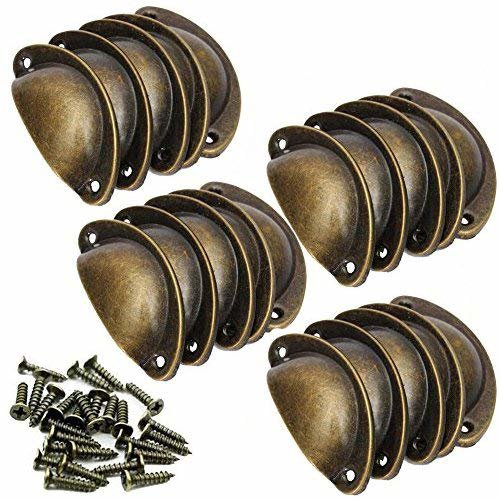 20 Pieces Retro Vintage Furniture Cupboard Door Cabinet Drawer Pull Handles and Knobs Shell Shape with Screws Bronze 8 * 3 * 2 cm