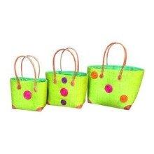 Madagascar Set of 3 Lime Green Raffia Hanta Swirl Baskets