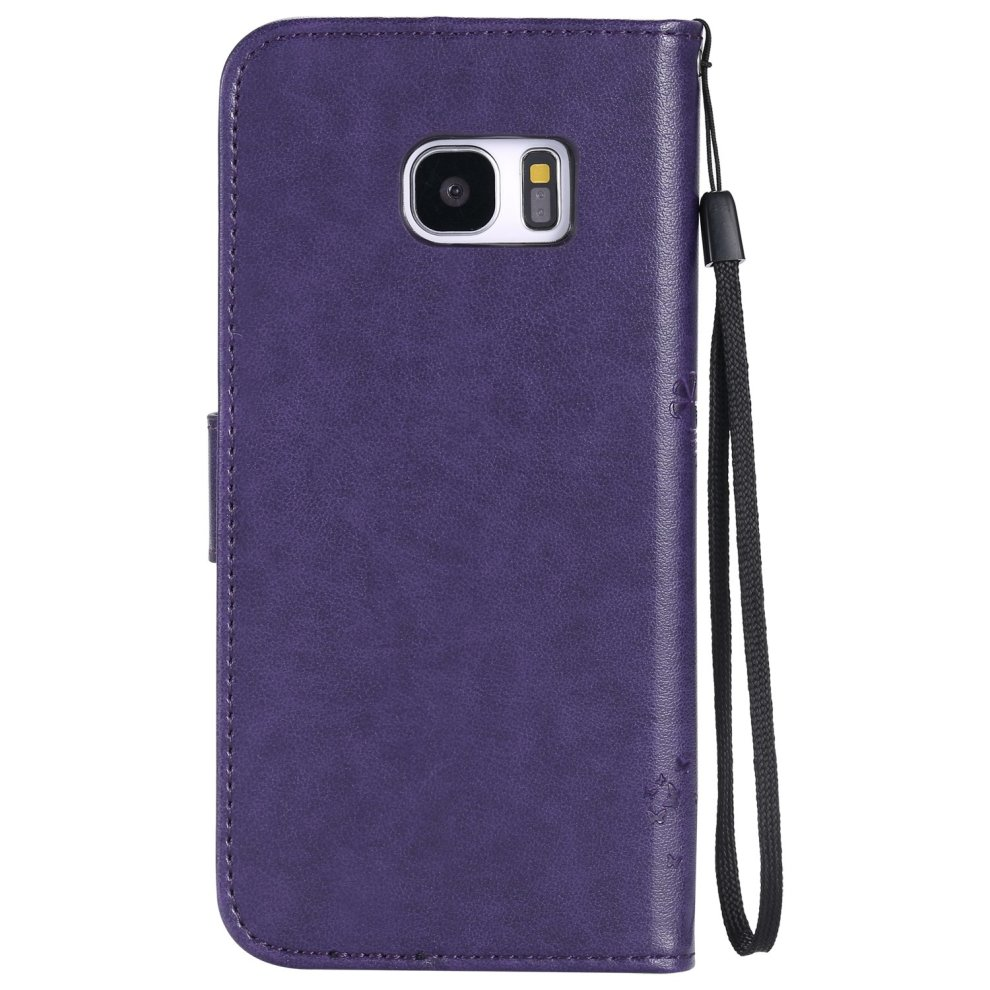 sneakers for cheap 2167c acfd7 C-Super Mall-UK Samsung Galaxy S7 Edge Case, Embossed Tree Cat Butterfly  Pattern PU Leather Wallet Stand Flip Case for Samsung Galaxy S7 Edge(purple)