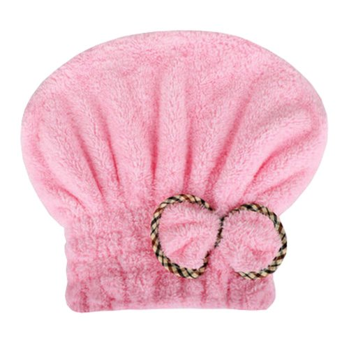 """Water Absorption Soft Turban Lovely Bowknot Shower Cap Bath Hair Dry Towel 9.84""""x25.59""""(Pink)"""