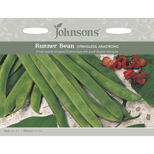 Johnsons Seeds - Pictorial Pack - Vegetable - Runner Bean Armstrong (Stringless) - 50 Seeds