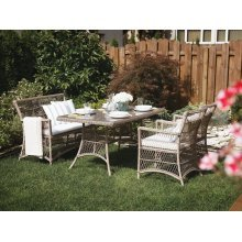 Wicker Dining Set with Bench and Chairs - BARLETTA