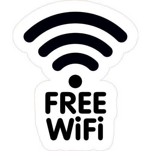FREE WiFi Design 3 Shop Business Trade Trader Cafe Restaurant Sticker Laminated.