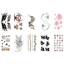 10 Sheets Fashion Body Art Stickers Removable Waterproof Temporary Tattoos ( M )