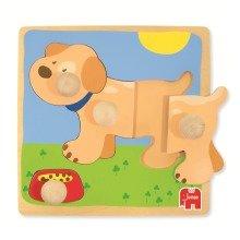 Goula Dog Wooden Peg Puzzle (4 Pieces)