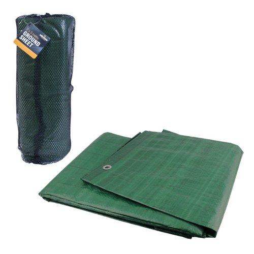 Milestone Camping 2m x 3m Ground Sheet Waterproof Green Cover Tarpaulin