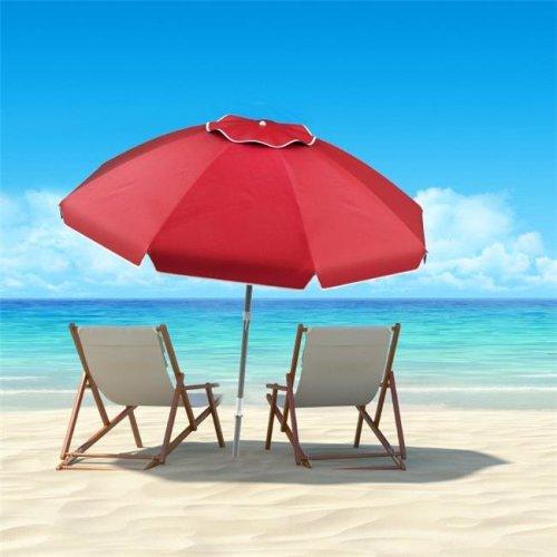 Pure Garden 50-LG1093 Beach Umbrella with 360 deg Tilt- Portable Outdoor Sun Shade Canopy with UV Protection - 7 ft. - Red