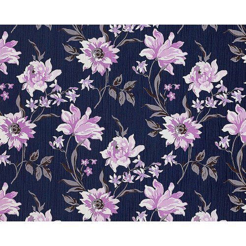 EDEM 900-14 non-woven wallpaper flowers fabric look blue violet white 10.65 sqm