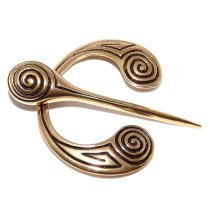Spiral style bronze Fibula Viking Cloak Pin Open Ring Celtic Brooch