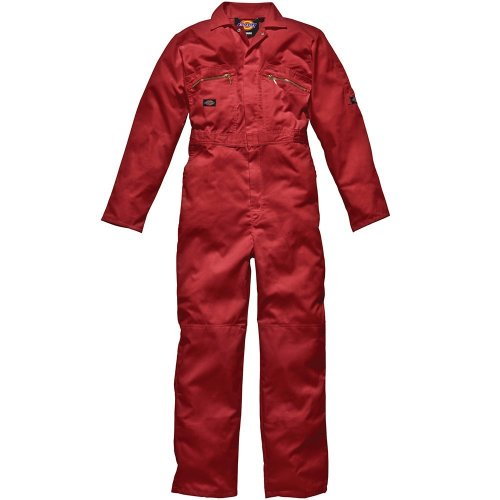 Dickies WD4839 Redhawk Overall with Zip Front, 42T, Red