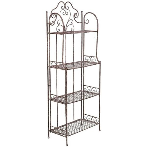 Multipurpose Wrought Iron Made Antiqued Rust Finish  W63xdp33xh165 Cm Sized Collapsible ?tag?re