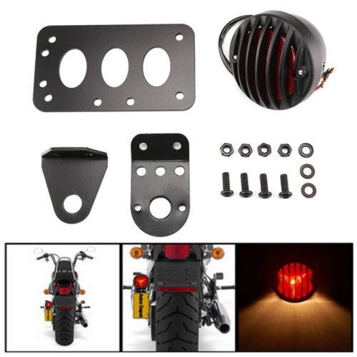 Motorbike Tail Light Side Fix License Number Plate Bracket Stop Chopper