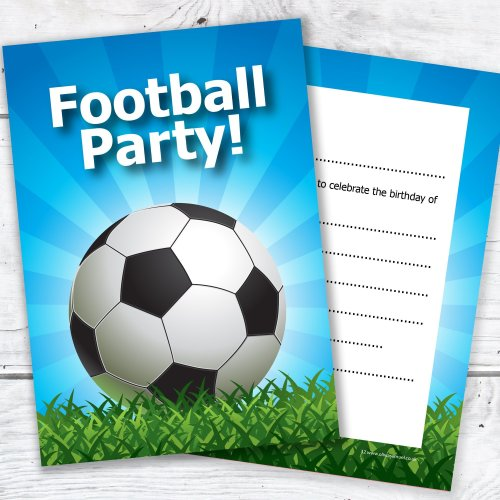 Kids Football Party Invite A6 Ready To Write Double Sided