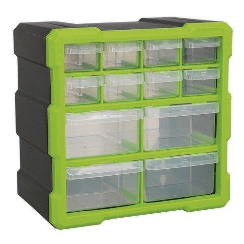 Sealey APDC12HV Cabinet Box 12 Drawer - Hi-Vis Green/Black