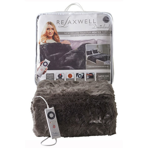 Relaxwell Deluxe Faux Fur Heated Throw, 120cm x 160cm - Slate Grey