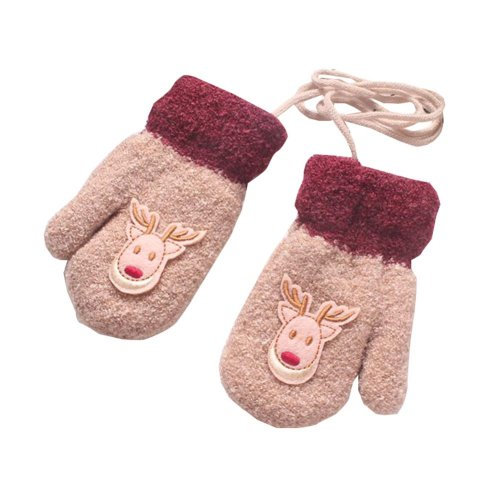 Cartoon Deer Plush-lined Hand Warmer Toddler Warm Gloves with String, #08