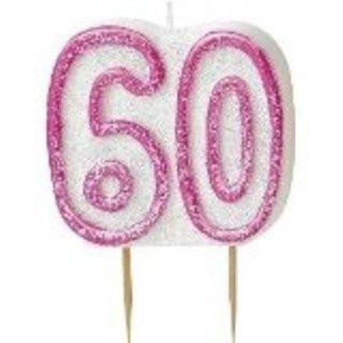 Age 60 Birthday Candle Pink Glitz