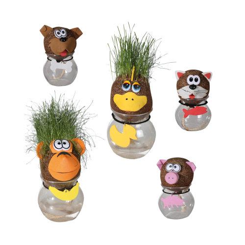 5 Pc Gardening Craft Grass Head Animals Garden Ornament Animal Figure Decoration