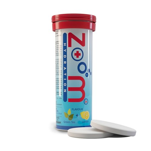 "ZooM - HYDRATION - the electrolyte drink for all sports. 4 minerals with green tea and lemon flavor. 10 effervescent tablets ""Made in Germany"""