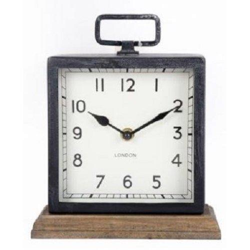 Metal Mantle Clock with Wooden Base Freestanding Clock