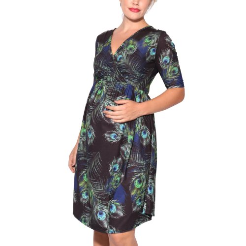 Peacock Feather Wrap Dress