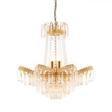 Clear Faceted Glass Beads & Gold Effect Plate 9lt Pendant 40W by Happy Homewares