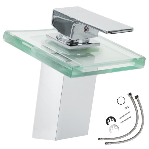 Water faucet waterfall glass rectangular tap with LED lighting
