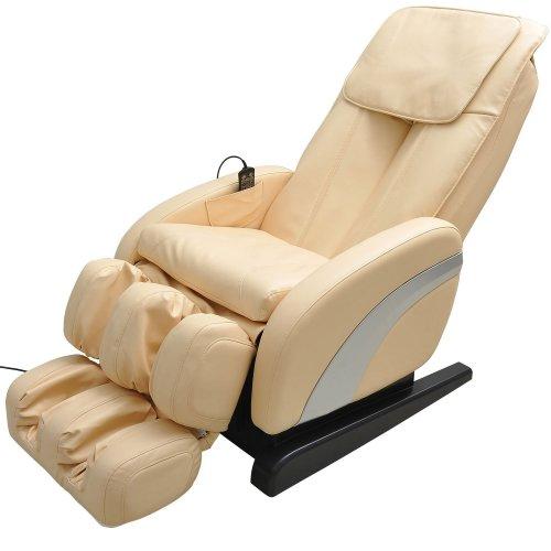 Homcom Luxury Reclining Leather Massage Heat Armchair Multifunctional Full Body Cream