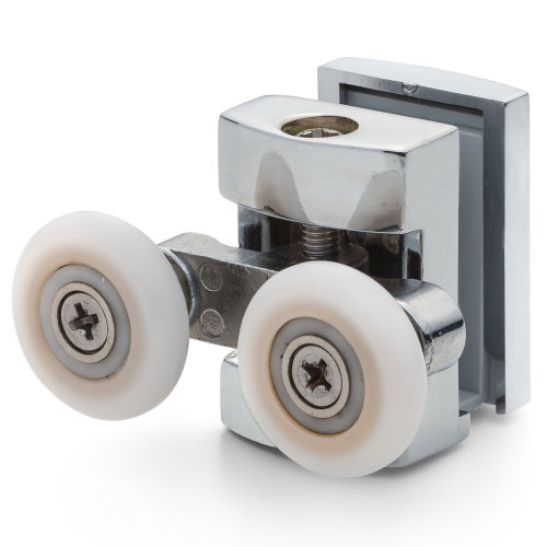 1 x Double Top Chrome/Silver Shower Door Rollers/Runners 22mm Wheel Diameter (4.5mm, 6mm or 7.5mm Glass) CR4