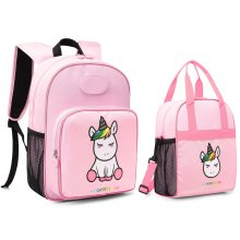 deaa3c8028a mommore 2 in 1 Cute Unicorn Kids Backpack with Insulated Lunch Bag for Boys  and Girls Pink