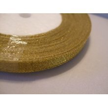 Organza Ribbon Roll - 10mm x 25 Yards (22 Metres) - Gold Sparkle