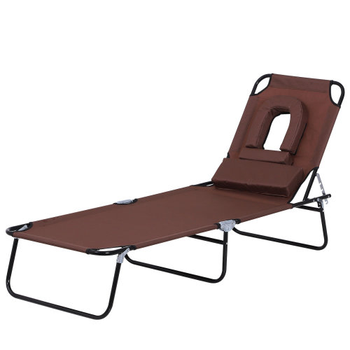 Outsunny Sun Lounger Foldable Reclining Chair with Pillow and Reading Hole Garden Beach Outdoor Recliner Adjustable Brown