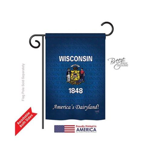 Breeze Decor 58108 States Wisconsin 2-Sided Impression Garden Flag - 13 x 18.5 in.